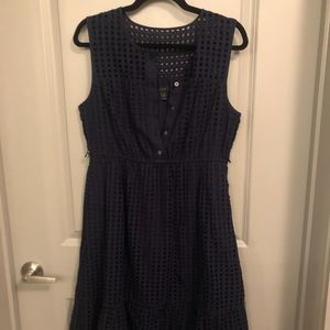 J. Crew Navy Eyelet Dress